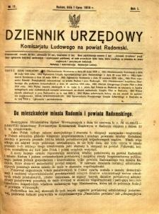 Dziennik Urzędowy Komisarjatu Ludowego na powiat Radomski, 1919, R. 1, nr 11