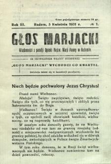 Głos Mariacki, 1931, R. 3, nr 1931