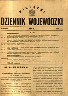 Kielecki Dziennik Wojewódzki, 1929, nr 1