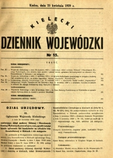 Kielecki Dziennik Wojewódzki, 1929, nr 15