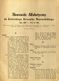 Skorowidz Alfabetyczny do Kieleckiego Dziennika Wojewódzkiego. Rok 1929