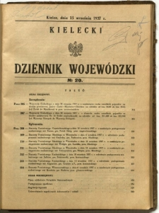 Kielecki Dziennik Wojewódzki, 1937, nr 20