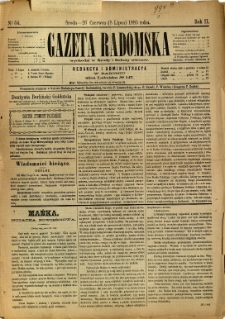 Gazeta Radomska, 1885, R. 2, nr 54