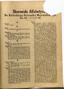 Skorowidz Alfabetyczny do Kieleckiego Dziennika Wojewódzkiego. Rok 1937