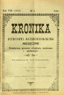 Kronika Diecezji Sandomierskiej, 1915, R. 8, nr 2