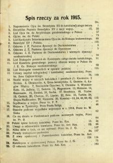 Kronika Diecezji Sandomierskiej : spis rzeczy za rok 1915