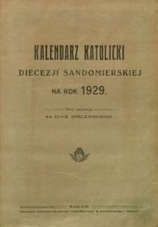 Kalendarz katolicki Diecezji Sandomierskiej na rok 1929