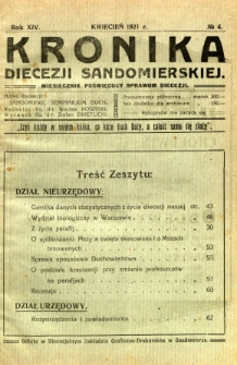 Kronika Diecezji Sandomierskiej, 1921, R. 14, nr 4