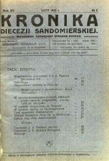 Kronika Diecezji Sandomierskiej, 1922, R. 15, nr 2