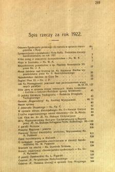 Kronika Diecezji Sandomierskiej : spis rzeczy za rok 1922