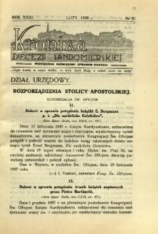 Kronika Diecezji Sandomierskiej, 1938, R. 31, nr 2