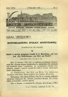 Kronika Diecezji Sandomierskiej, 1938, R. 31, nr 4