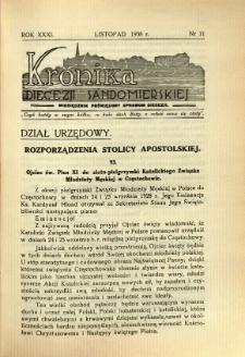 Kronika Diecezji Sandomierskiej, 1938, R. 31, nr 11