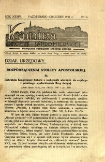 Kronika Diecezji Sandomierskiej, 1941, R. 34, nr 4
