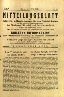 Mitteilungsblatt der Industrie-u. Handelskammer für den Distrikt Radom = Wydawnictwo Informacyjne Izby Przemysłowo-Handlowej dla Dystryktu Radomskiego, 1940, R. 1, nr 10