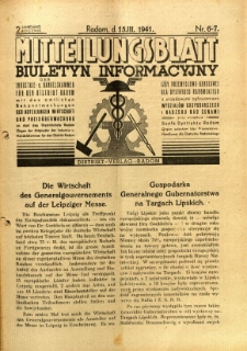 Mitteilungsblatt der Industrie-u. Handelskammer für den Distrikt Radom = Wydawnictwo Informacyjne Izby Przemysłowo-Handlowej dla Dystryktu Radomskiego, 1941, R. 2, nr 6/7