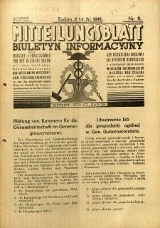 Mitteilungsblatt der Industrie-u. Handelskammer für den Distrikt Radom = Wydawnictwo Informacyjne Izby Przemysłowo-Handlowej dla Dystryktu Radomskiego, 1941, R. 2, nr 8