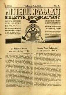 Mitteilungsblatt der Industrie-u. Handelskammer für den Distrikt Radom = Wydawnictwo Informacyjne Izby Przemysłowo-Handlowej dla Dystryktu Radomskiego, 1941, R. 2, nr 9