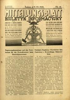 Mitteilungsblatt der Industrie-u. Handelskammer für den Distrikt Radom = Wydawnictwo Informacyjne Izby Przemysłowo-Handlowej dla Dystryktu Radomskiego, 1941, R. 2, nr 14