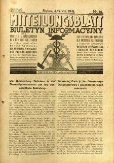 Mitteilungsblatt der Industrie-u. Handelskammer für den Distrikt Radom = Wydawnictwo Informacyjne Izby Przemysłowo-Handlowej dla Dystryktu Radomskiego, 1941, R. 2, nr 16