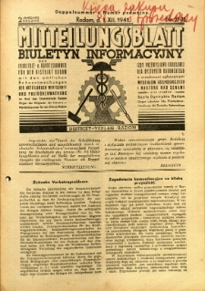 Mitteilungsblatt der Industrie-u. Handelskammer für den Distrikt Radom = Wydawnictwo Informacyjne Izby Przemysłowo-Handlowej dla Dystryktu Radomskiego, 1941, R. 2, nr 22/23