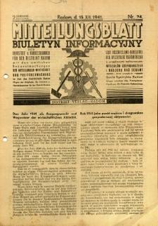 Mitteilungsblatt der Industrie-u. Handelskammer für den Distrikt Radom = Wydawnictwo Informacyjne Izby Przemysłowo-Handlowej dla Dystryktu Radomskiego, 1941, R. 2, nr 24