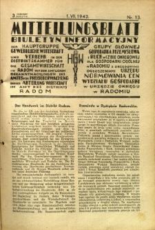 Mitteilungsblatt der Industrie-u. Handelskammer für den Distrikt Radom = Wydawnictwo Informacyjne Izby Przemysłowo-Handlowej dla Dystryktu Radomskiego, 1942, R. 3, nr 13