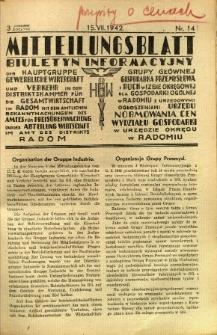 Mitteilungsblatt der Industrie-u. Handelskammer für den Distrikt Radom = Wydawnictwo Informacyjne Izby Przemysłowo-Handlowej dla Dystryktu Radomskiego, 1942, R. 3, nr 14