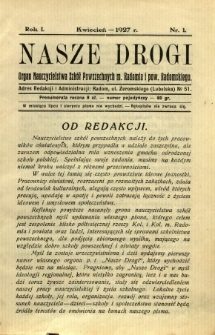 Nasze Drogi, 1927, R. 1, nr 1