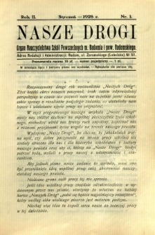 Nasze Drogi, 1928, R. 2, nr 1