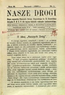 Nasze Drogi, 1929, R. 3, nr 1