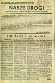 Ziemia Radomska, 1933, R. 6, nr 13 - dodatek Nasze Drogi nr 1