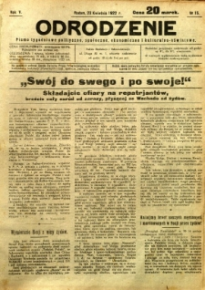 Odrodzenie, 1922, R. 5, nr 15