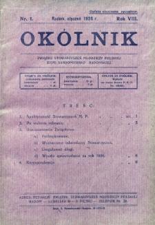 Okólnik Związku Stowarzyszeń Młodzieży Polskiej Ziemi Sandomiersko - Radomskiej, 1928, R. 8, nr 1
