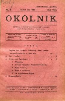 Okólnik Związku Stowarzyszeń Młodzieży Polskiej Ziemi Sandomiersko - Radomskiej, 1928, R. 8, nr 2