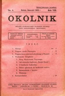 Okólnik Związku Stowarzyszeń Młodzieży Polskiej Ziemi Sandomiersko - Radomskiej, 1928, R. 8, nr 4