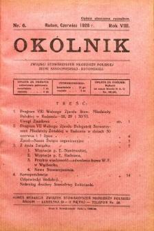 Okólnik Związku Stowarzyszeń Młodzieży Polskiej Ziemi Sandomiersko - Radomskiej, 1928, R. 8, nr 6