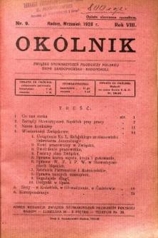 Okólnik Związku Stowarzyszeń Młodzieży Polskiej Ziemi Sandomiersko - Radomskiej, 1928, R. 8, nr 9
