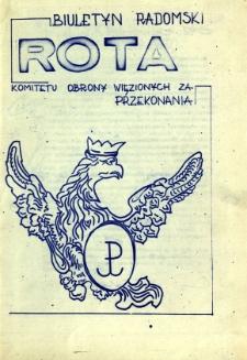Biuletyn Radomski ROTA Komitetu Obrony Więzionych za Przekonania, 1981, [1]