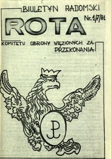 Biuletyn Radomski ROTA Komitetu Obrony Więzionych za Przekonania, 1981, nr 1/7/81