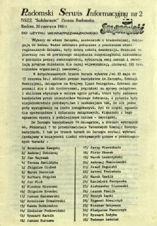 Radomski Serwis Informacyjny, 1981, nr 2