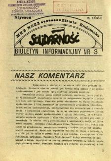Biuletyn Informacyjny MKZ NSSZ Solidarność Ziemia Radomska, 1981, nr 3