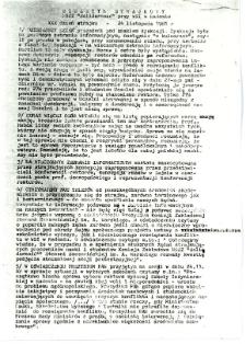 Biuletyn Strajkowy NSZZ Solidarność przy WSI w Radomiu, 1981-11-24
