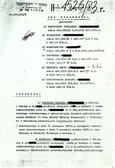 Akt oskarżenia, dnia 22 września 1983 r.
