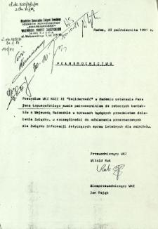 Pełnomocnictwo, z dnia 23 października 1981 r.