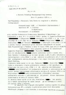 Wyrok w Imieniu Polskiej Rzeczpospolitej Ludowej, dnia 11 grudnia 1976 r.
