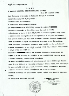 Wyrok w Imieniu Polskiej Rzeczpospolitej Ludowej, dnia 27 czerwca 1976 r.