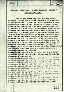 """Wystąpienie Lecha Wałęsy na wiecu a hali RZO """"Radoskór"""" w dniu 3.XII.1981 r."""