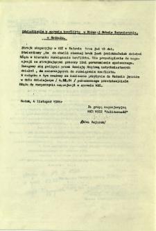 Oświadczenie w sprawie konfliktu w Wyższej Szkole Inżynierskiej w Radomiu