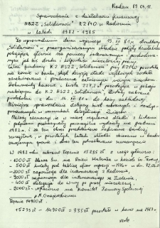 """Sprawozdanie z działalności finansowej NSZZ """"Solidarność"""" RZMO w Radomiu w latach 1982-1985"""